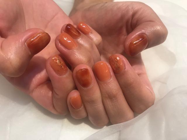 オレンジネイル02