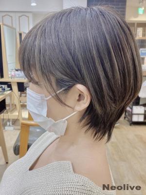 白髪ぼかしハイライト×ショートボブ★