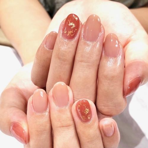 シンプル秋色ネイルデザイン☆高田馬場 ネイル マツエク