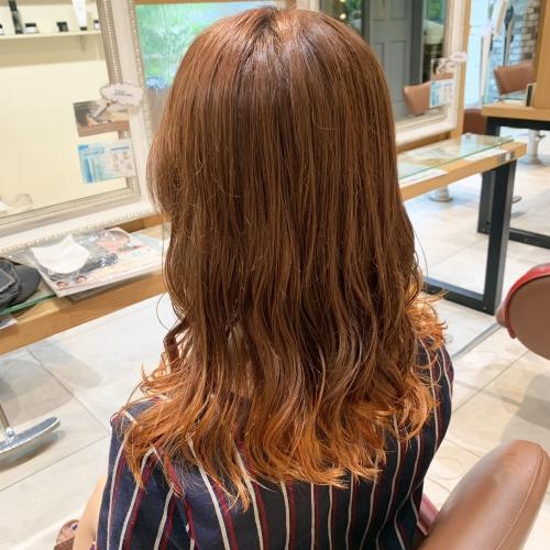 オレンジ裾カラー