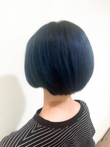 ショートボブ×ネイビーカラー☆高田馬場 美容室 酸熱 髪質改善トリートメント