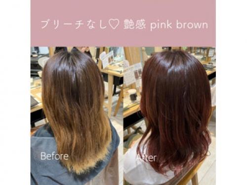 ブリーチなしでピンクブラウン♪♪【tomoka】