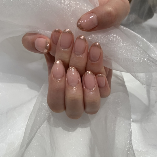 new nails❤︎-mirror french-
