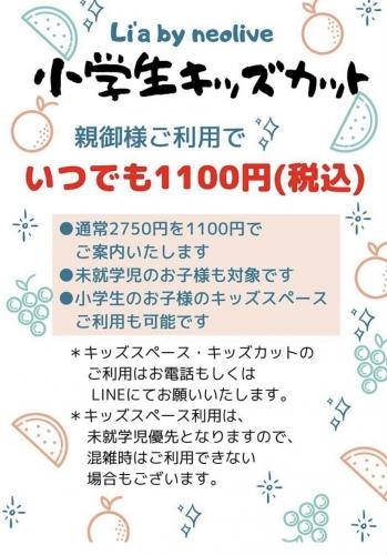 小学生未満無料!小学生1100円カット!