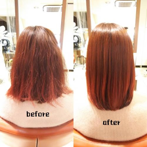 髪質改善酸熱トリートメント、ハホニコラメラメトリートメント ブリーチ毛 美髪