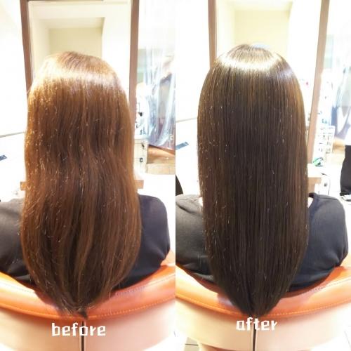 伸ばしている髪のを髪質改善酸熱トリートメントとラメラメトリートメントで艶髪に☆